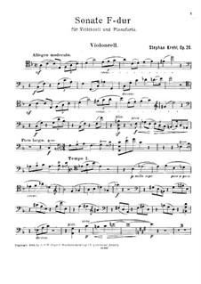 Соната для виолончели и фортепиано фа мажор, Op.20: Сольная партия by Штефан Крель