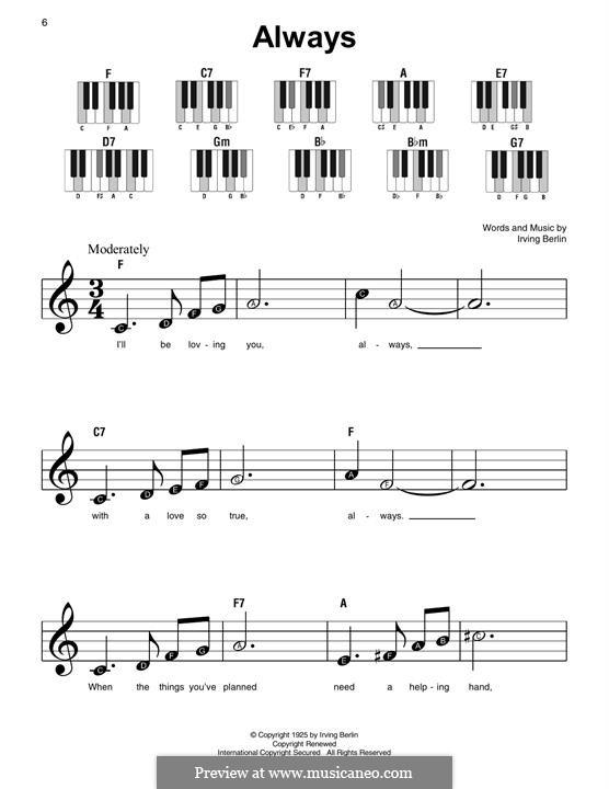 Always: Для фортепиано (легкий уровень) by Ирвинг Берлин