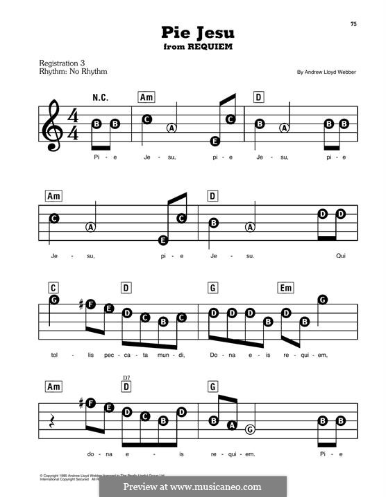 Pie Jesu (from Requiem): Для фортепиано by Andrew Lloyd Webber