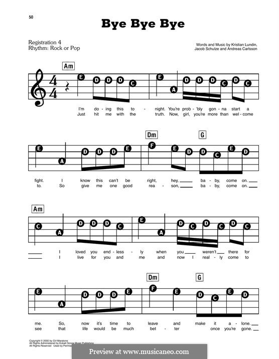 Bye Bye Bye (N Sync): Для фортепиано (легкий уровень) by Andreas Carlsson, Jake Carlsson, Kristian Lundin