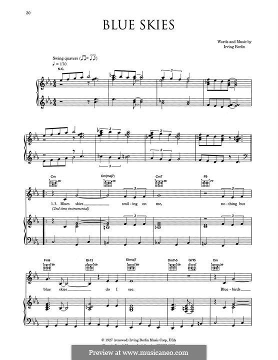 Blue Skies: Для голоса и фортепиано или гитары (Eva Cassidy) by Ирвинг Берлин
