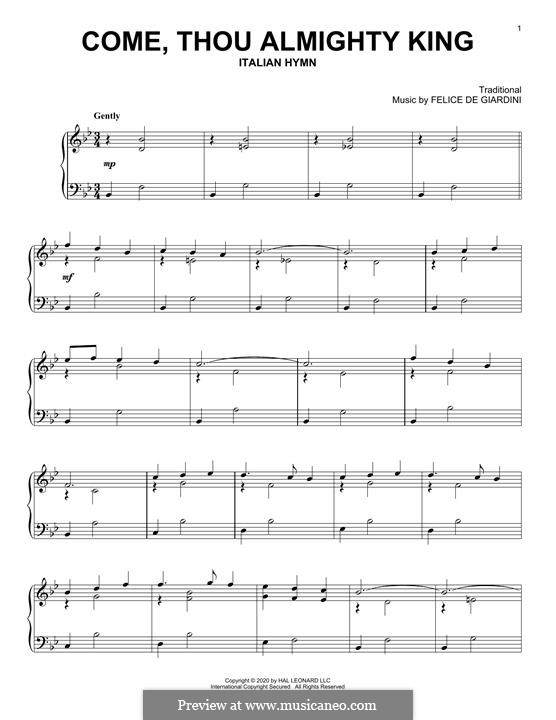 Come, Thou Almighty King: Для фортепиано (легкий уровень) by Феличе Джардини
