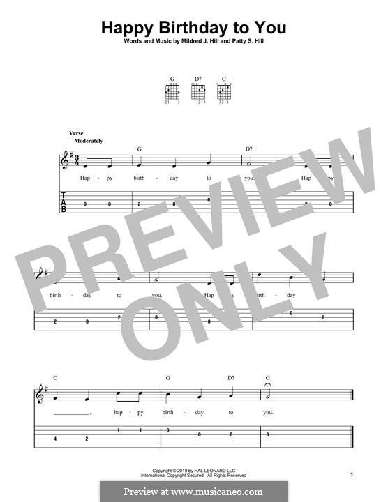 С днем рождения тебя: Для гитары by Милдред  Хилл