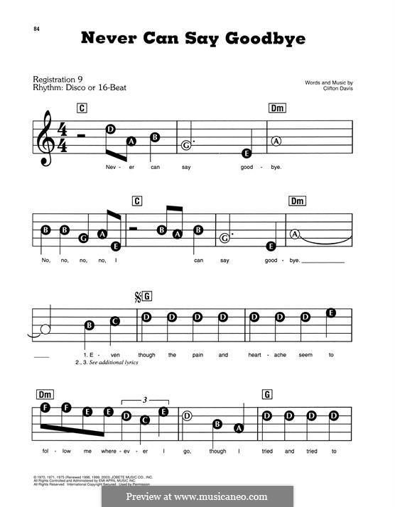 Never Can Say Goodbye (The Jackson 5): Для фортепиано (легкий уровень) by Clifton Davis
