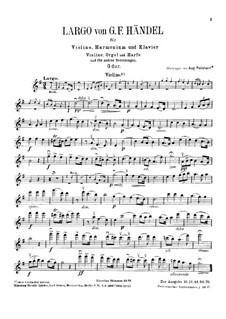 Ларго: Для скрипки, фисгармонии и фортепиано – партия скрипки by Георг Фридрих Гендель