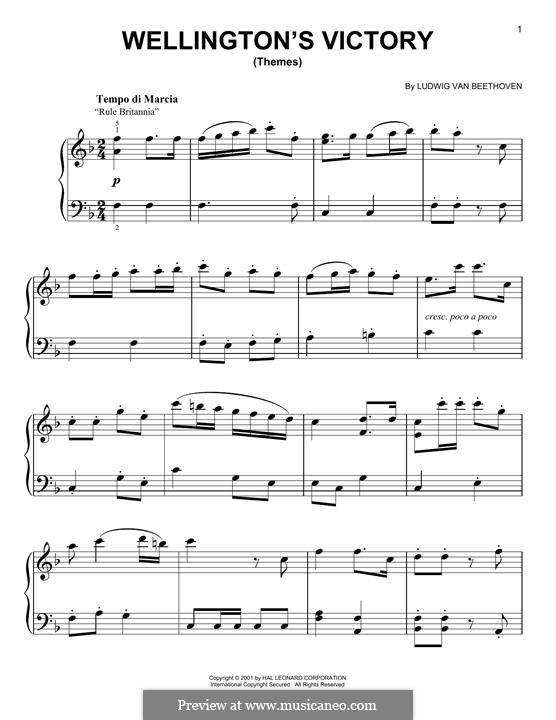 Победа Веллингтона, или Битва при Виттории, Op.91: Themes, for piano by Людвиг ван Бетховен
