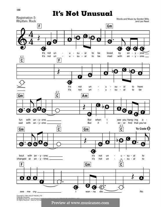 It's not Unusual (Tom Jones): Для фортепиано (легкий уровень) by Gordon Mills, Les Reed