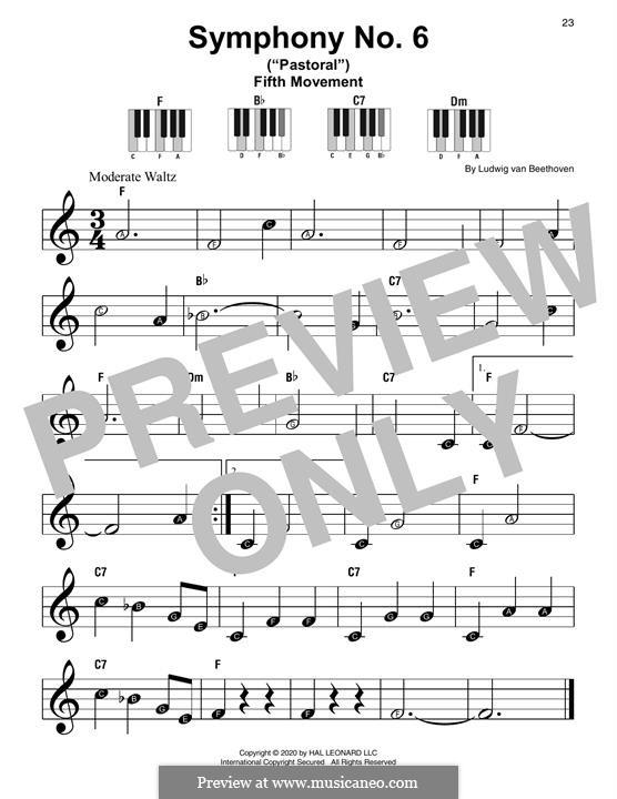 Часть I. Пробуждение радостных чувств от прибытия в деревню: Excerpt, for piano by Людвиг ван Бетховен