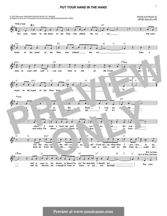 Put Your Hand in the Hand (Ocean): Для клавишного инструмента by Gene MacLellan