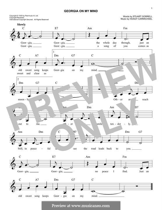 Georgia on My Mind: Для клавишного инструмента by Hoagy Carmichael