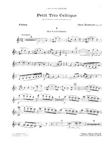 Petit trio celtique for Violin, Viola and Cello in F Major, Op.52: Партии by Swan Hennessy