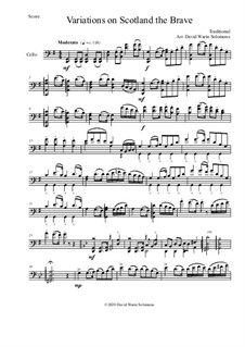 Scotland the brave: Variations, for cello solo by folklore