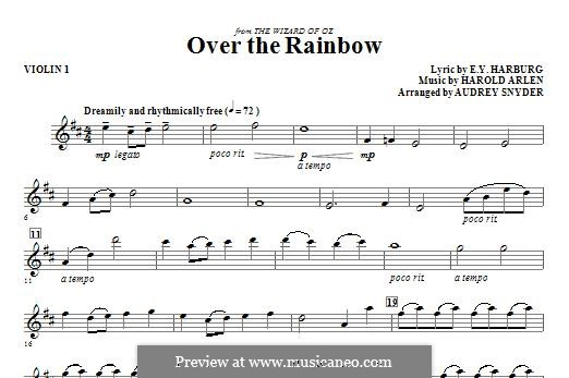Over the Rainbow (from The Wizard of Oz): For strings – Violin 1 part by Harold Arlen