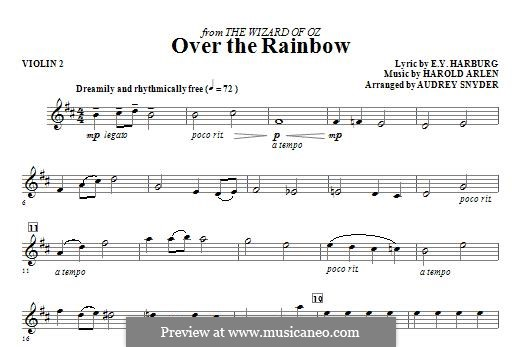 Over the Rainbow (from The Wizard of Oz): For strings – Violin 2 part by Harold Arlen