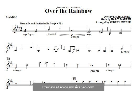 Over the Rainbow (from The Wizard of Oz): For strings – Violin 3 part by Harold Arlen