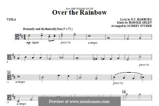 Over the Rainbow (from The Wizard of Oz): For strings – Viola part by Harold Arlen