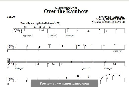 Over the Rainbow (from The Wizard of Oz): For strings – Cello part by Harold Arlen
