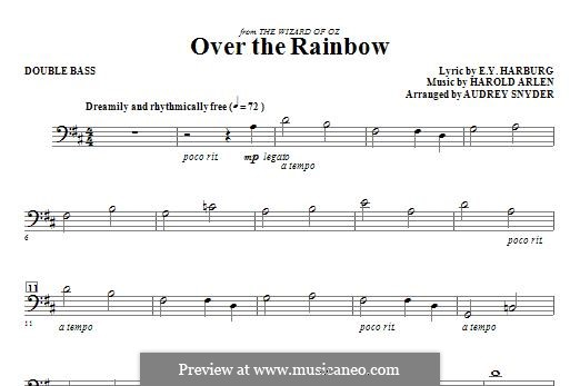 Over the Rainbow (from The Wizard of Oz): For strings – Double Bass part by Harold Arlen