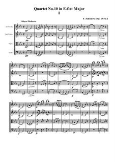 Струнный квартет No.10 ми-бемоль мажор, D.87 Op.125 No.1: Партитура by Франц Шуберт