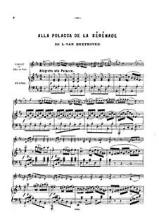 Струнное трио No.2 ре мажор 'Серенада', Op.8: Часть IV, для скрипки (или виолончели, или флейты) и фортепиано by Людвиг ван Бетховен