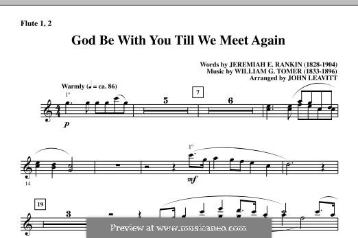 God Be with You Till We Meet Again: Flute 1 & 2 part by William Gould Tomer