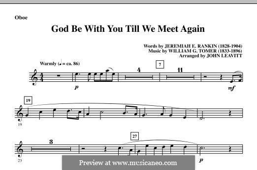 God Be with You Till We Meet Again: Партия гобоя by William Gould Tomer