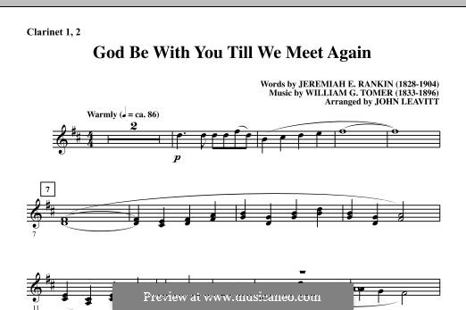 God Be with You Till We Meet Again: Bb Clarinet 1 & 2 part by William Gould Tomer