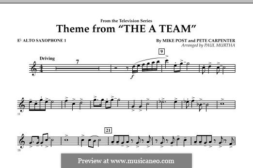 Theme from The 'A' Team: Eb Alto Saxophone 1 part by Pete Carpenter