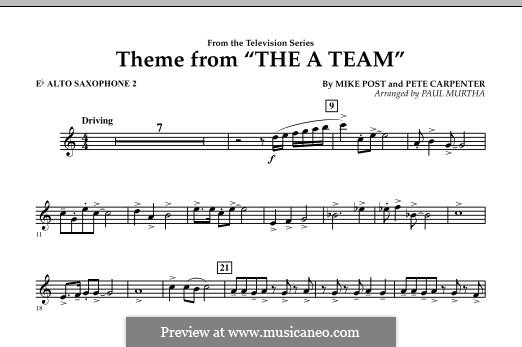 Theme from The 'A' Team: Eb Alto Saxophone 2 part by Pete Carpenter