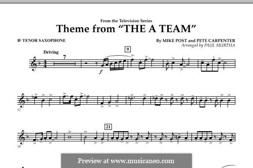 Theme from The 'A' Team: Bb Tenor Saxophone part by Pete Carpenter