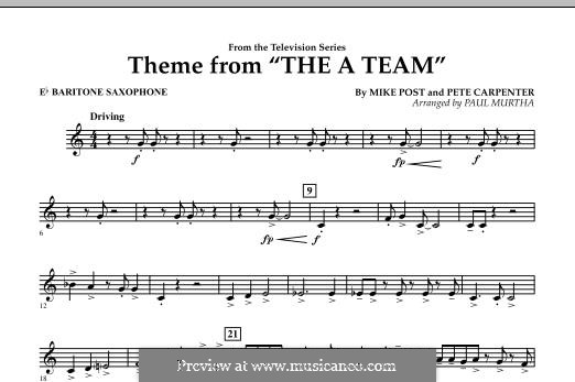Theme from The 'A' Team: Eb Baritone Saxophone part by Pete Carpenter