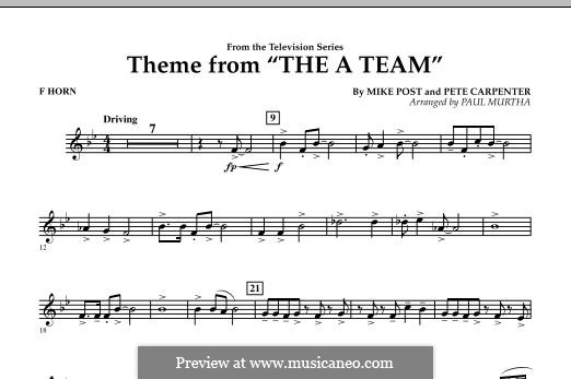 Theme from The 'A' Team: F Horn part by Pete Carpenter