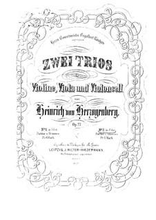 Струнные трио, Op.27: No.2 фа мажор – Партии by Генрих фон Герцогенберг