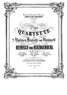 Струнный квартет No.1 соль минор, Op.42: Партии by Генрих фон Герцогенберг