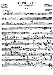 Концерт для альта с оркестром ре мажор: Партия солирующего альта by Франц Антон Хофмайстер