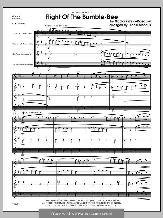 Полет шмеля: For saxophones - full score by Николай Римский-Корсаков