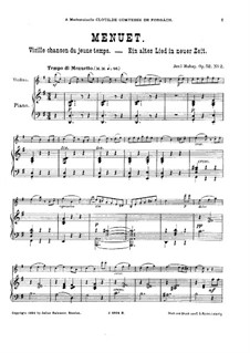 Vielle chanson de jeune temps for Violin and Piano, Op.52: No.2 Менуэт – партитура by Ене Хубаи