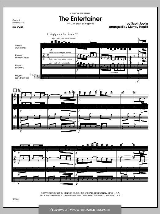 The Entertainer (Printable Scores): For percussion - full score by Скотт Джоплин