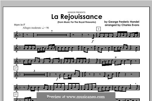 La Rejouissance: For brass band – Horn part by Георг Фридрих Гендель