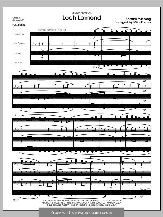 Loch Lomond: For brass band – full score by folklore