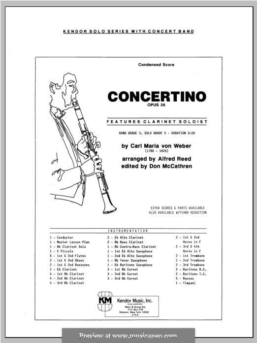 Концертино для кларнета с оркестром, J.109 Op.26: Full Score (arr. A. Reed) by Карл Мария фон Вебер