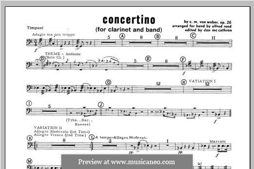 Концертино для кларнета с оркестром, J.109 Op.26: Percussion 4 part by Карл Мария фон Вебер