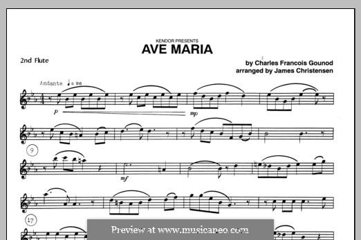 Ave Maria (Printable Sheet Music): For trio flutes – Flute 2 part by Иоганн Себастьян Бах, Шарль Гуно