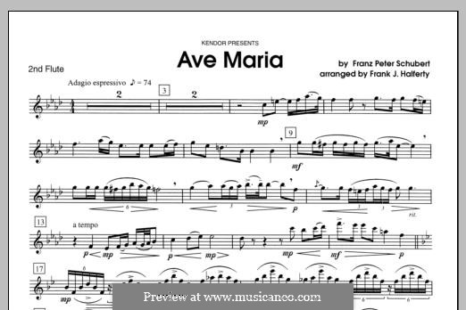 Ave Maria (Printable Scores), D.839 Op.52 No.6: For flutes - Flute 2 part by Франц Шуберт