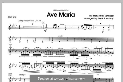 Ave Maria (Printable Scores), D.839 Op.52 No.6: For flutes - Flute 4 part by Франц Шуберт