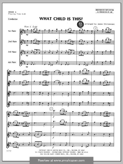 What Child is This (Christmas Carol): For quartet flutes – full score by folklore