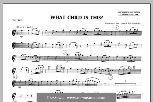 What Child is This (Christmas Carol): For quartet flutes – Flute 1 part by folklore