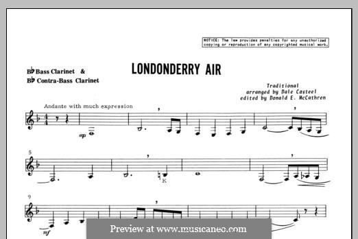 Danny Boy (Londonderry Air) Printable Scores: For clarinets – Bass Clarinet part by folklore