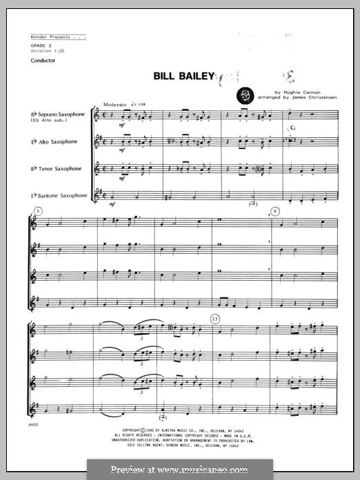 Bill Bailey, Won't You Please Come Home: For quartet saxophones – full score by Hughie Cannon
