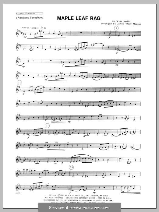 Maple Leaf Rag (Printable Scores): For four saxophones - Baritone Sax part by Скотт Джоплин